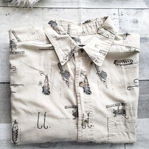 Woolrich birch hooks & reels button down shirt L